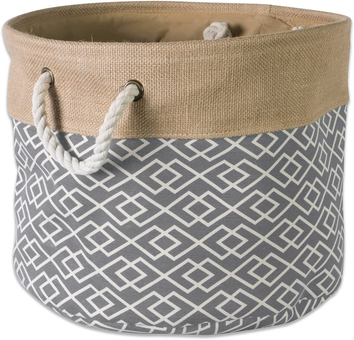 "DII Collapsible Burlap Storage Basket or Bin with Durable Cotton Handles, Home Organizational Solution for Office, Bedroom, Closet, Toys, & Laundry (Small Round - 12x9""), Diamond Gray"