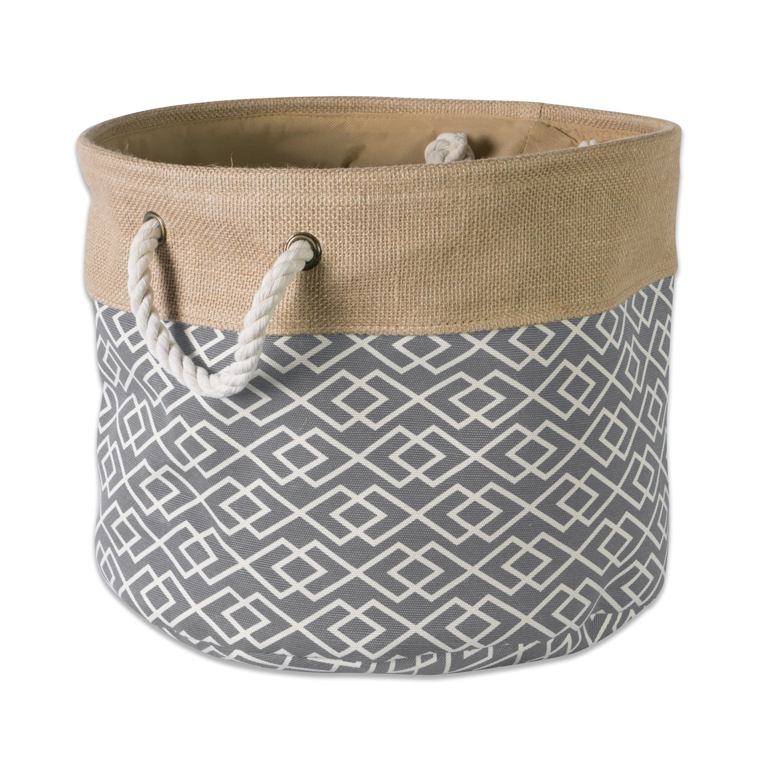DII Collapsible Burlap Storage Basket or Bin with Durable Cotton Handles, Home Organizational Solution for Office, Bedroom, Closet, Toys, Laundry (Small Round - 12x9), Diamond Gray