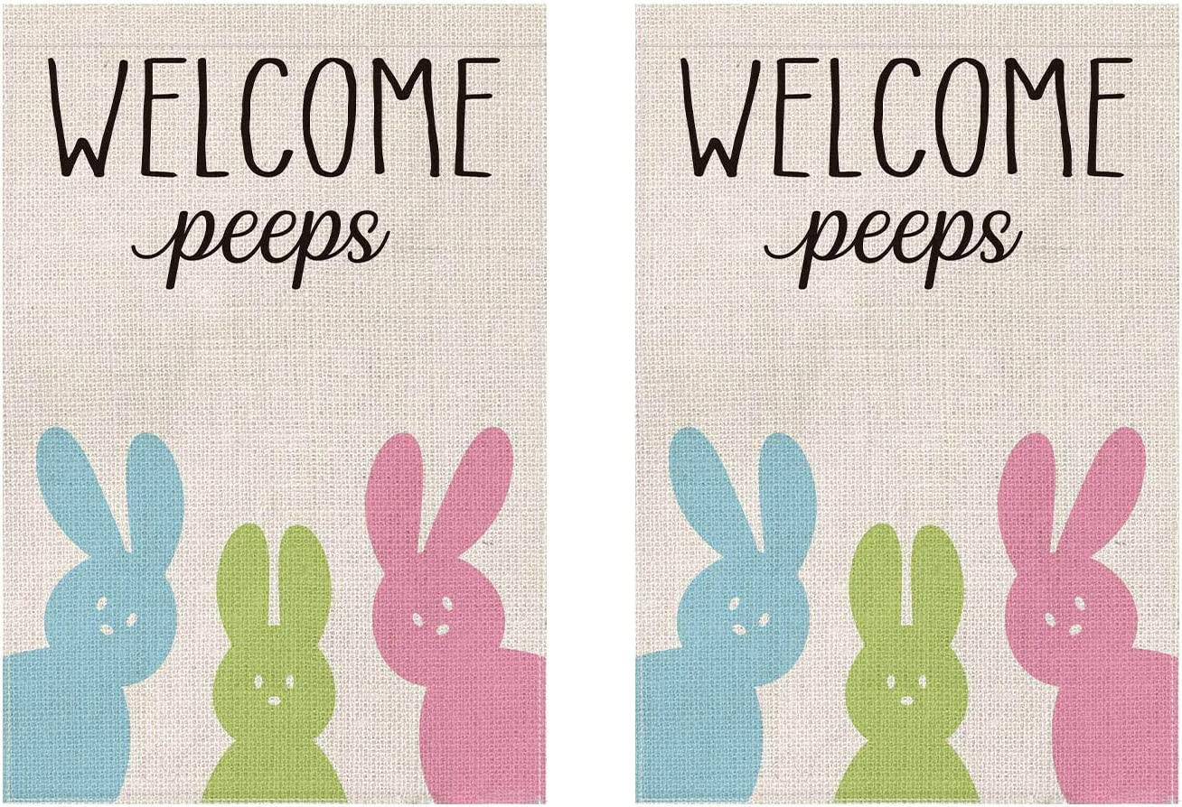 Decks Balconies Terraces Doorways Easter Flags,18/×12 Inch Double Sided Vertical Easter Garden Flags,Use for Hunging in Gardens