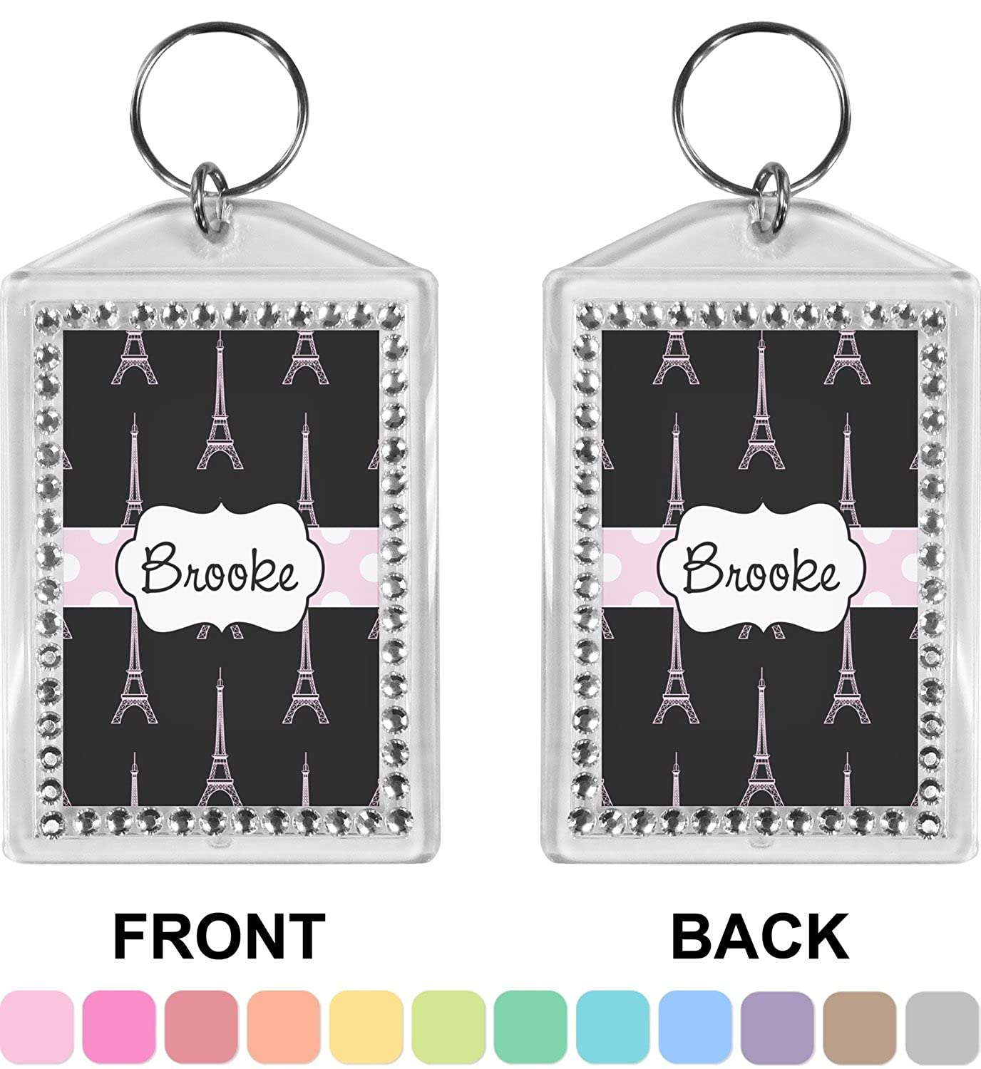 Black Eiffel Tower Bling Keychain (Personalized)