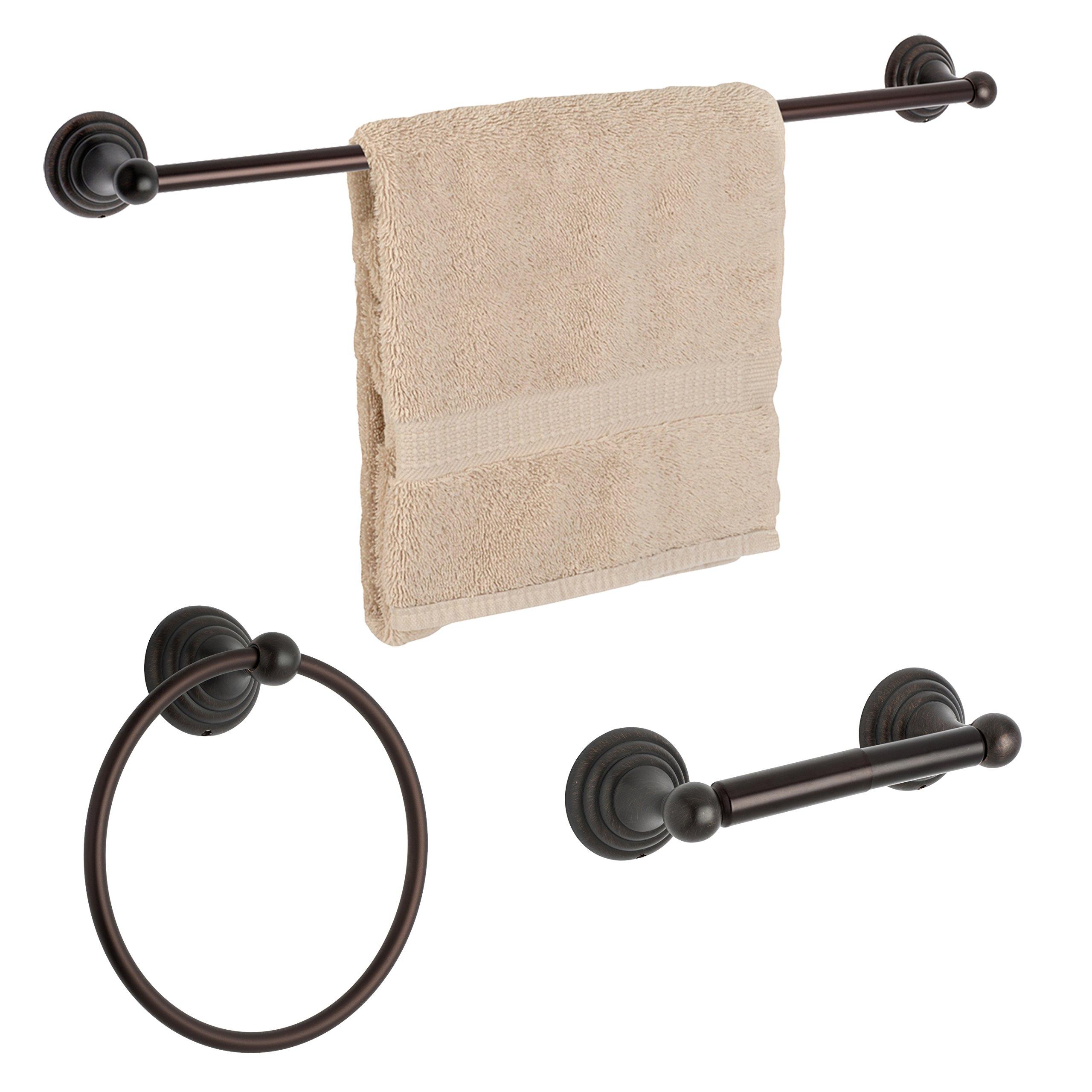 Dynasty Hardware DYN-7500-ORB-3 Bel-Air Bathroom Hardware 3-Piece Set, with 24'', 24 Inch Towel Bar, Oil Rubbed Bronze