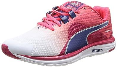 ae36b2a7577f0e Puma Women s Faas 500 v4 Wn White- Pink-Blueprint-Pink Mesh Running Shoes