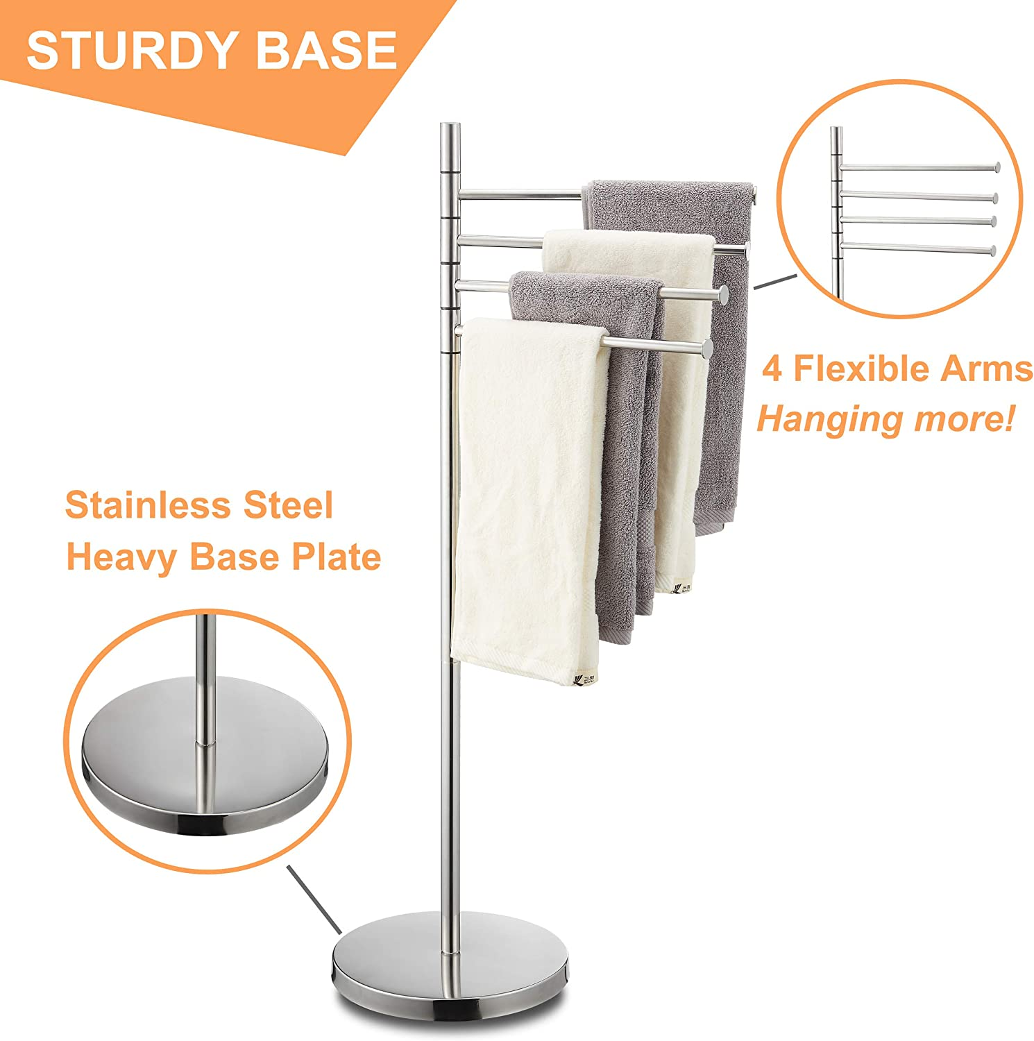 Naturous 4 Swivel Arm Towel Rack Holder Freestanding Hand Towel Bar Stand with Round Base Stainless Steel Bathroom Towel//Kitchen Towel Rack Stand