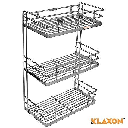 Klaxon Stainless Steel Triple Shelf Kithen Spice Rack (Silver)