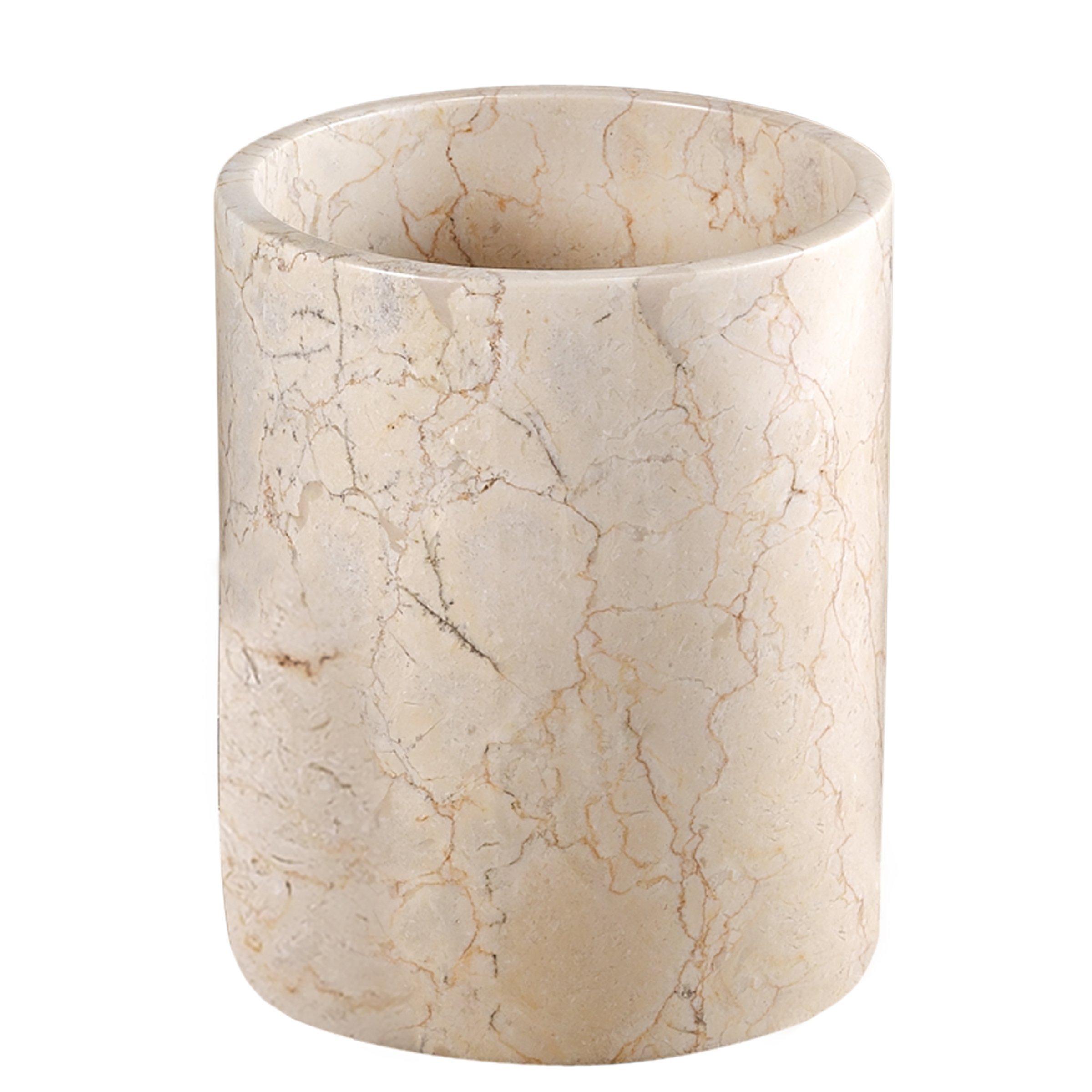Creative Home Champagne Marble SPA Collection Wastebasket, Trash Bin, 7-7/8'' x 9-1/2''H, Beige