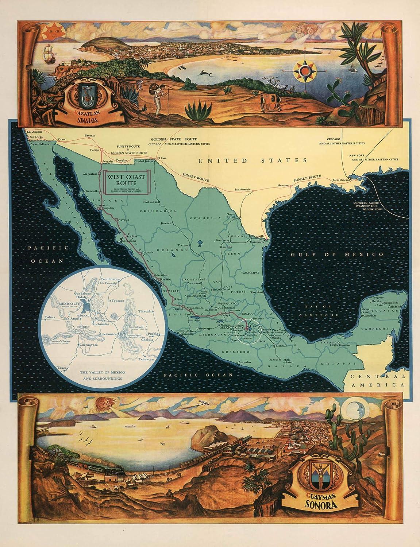 Amazon.com: Map Poster - Mexico. Views: Azatlan, Sinaloa ... on badiraguato map, tabasco map, mexico map, zacatecas map, pitiquito map, tamaulipas map, durango map, fuerte river map, zambezia map, morelos map, hidalgo map, aguascalientes map, nueva esparta map, nayarit map, culiacan map, tlaxcala map, michoacan map, guanajuato map, jalisco map, norte map,