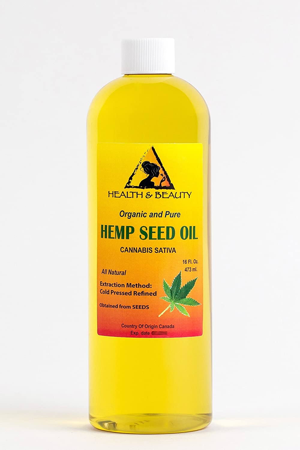Hemp Seed Oil Refined Organic Carrier Cold Pressed Pure 32 oz, 946 ml H&B OILS CENTER Co.