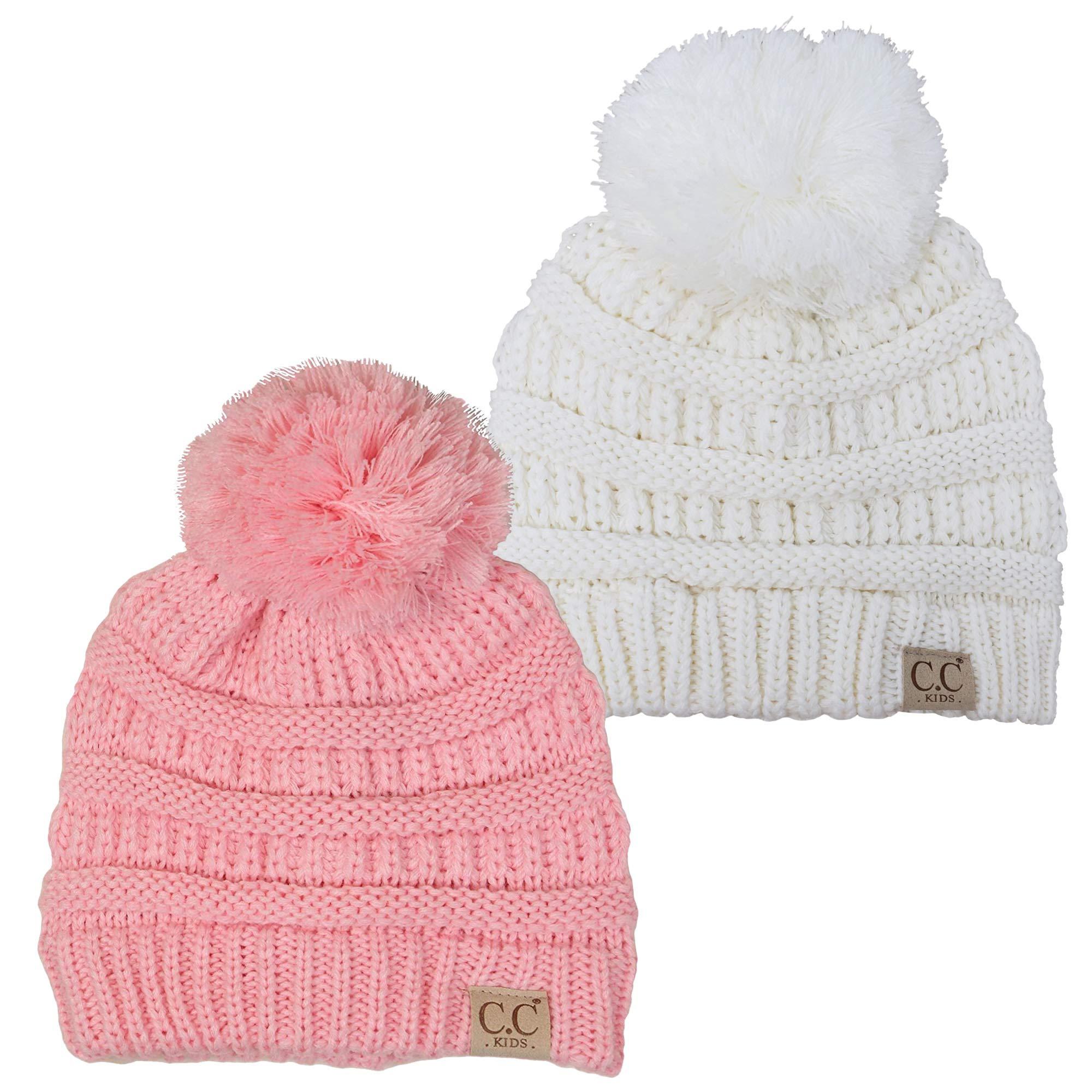 H-6847-2-2529 Kids Pom Beanie Bundle - 1 Ivory, 1 Pale Pink (2 Pack)