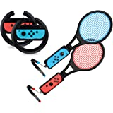Steering Wheel / Tennis Racket Combo Pack for Nintendo Switch - by TalkWorks Joy Con Controller Grip Racing & Sports…