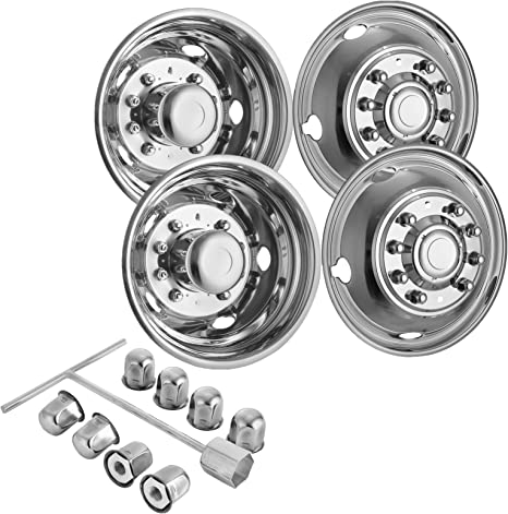 Set of 2 universal highly polished stainless steel truck wheel bolt cover in 22.5 inch 22.5 inch closed suitable for various trucks.