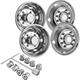 """Mophorn 4 PCS of Wheel Simulators 19.5 Inch 10 Lug Hubcap Kit Fit for 2005 - 2017 Ford F450 - F550 2WD 4WD Trunk Polished Stainless Steel Bolt On Dually Wheel Cover Set (19.5"""")"""