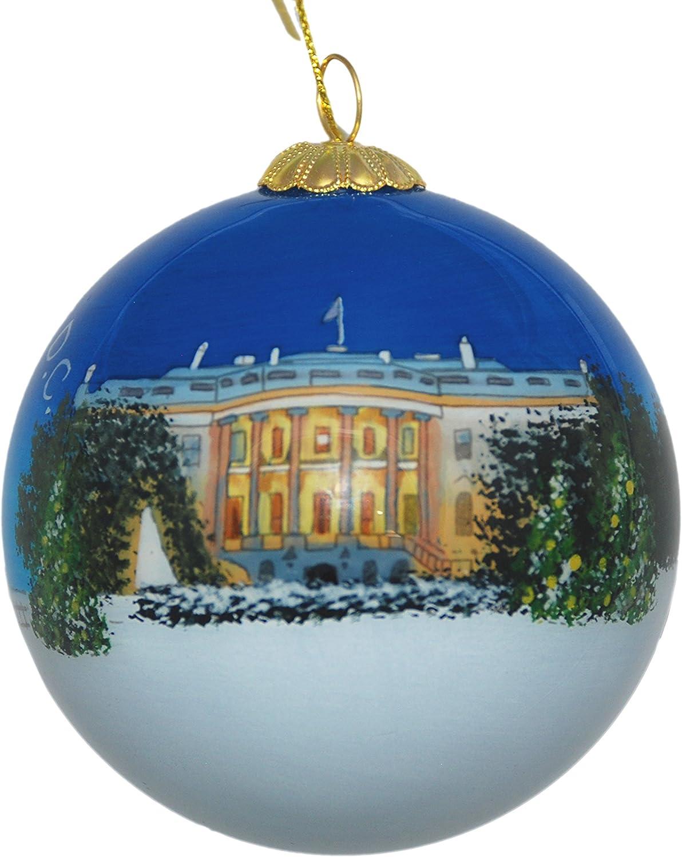 Hand Painted Glass Christmas Ornament - Washington D. C. – White House Christmas