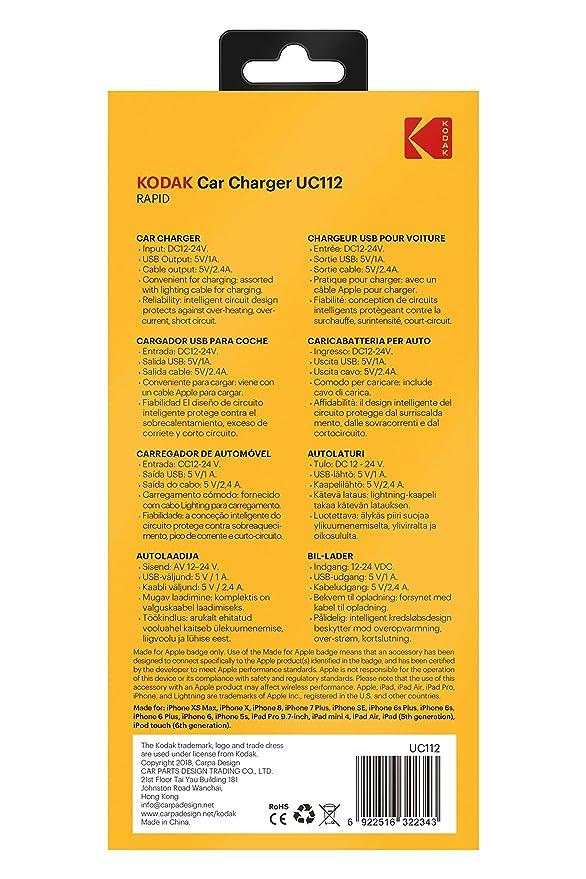 Amazon.com: KODAK UC112 Fast Car Charger, MFI Connector ...