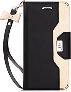 FYY Leather Case with Mirror for iPhone 6S Plus/iPhone 6 Plus, Leather Wallet Flip Folio Case with Mirror and Wrist Strap for iPhone 6S Plus/6 Plus Black