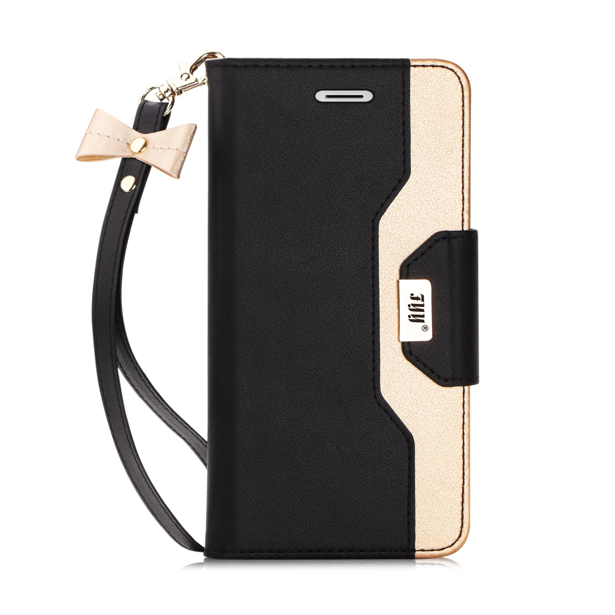 FYY Case for iPhone 8/iPhone 7, [RFID Blocking Wallet] [Makeup Mirror] Premium PU Leather Wallet Case with Cosmetic Mirror and Bow-Knot Strap for iPhone 7/8 Black
