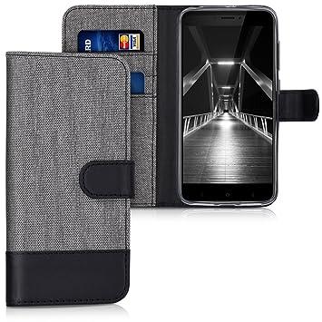 kwmobile Funda para Xiaomi Redmi 4X - Carcasa de Tela y Cuero sintético - con Tapa y Tarjetero Gris/Negro