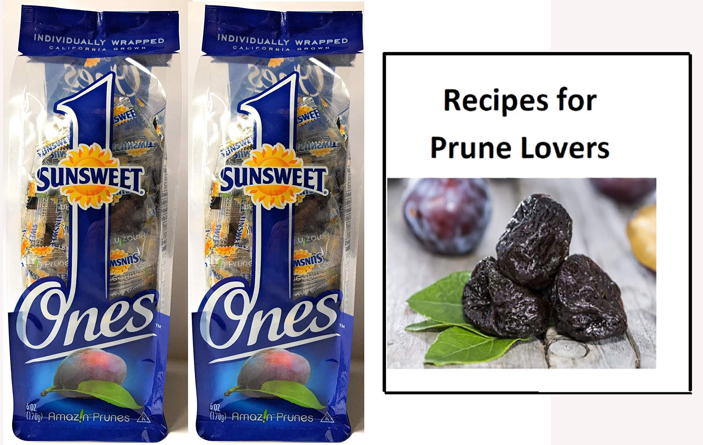Sunsweet Ones California Individually Wrapped Pitted Prunes - 2 Packages (each package is 6 ounces) PLUS a Prune Recipe - GREAT VALUE! by Sunsweet