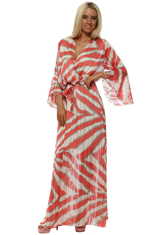 00cbeedacbd4c Troiska Blurred Stripe Cross Over Maxi Dress One Size Peach Coral:  Amazon.co.uk: Clothing
