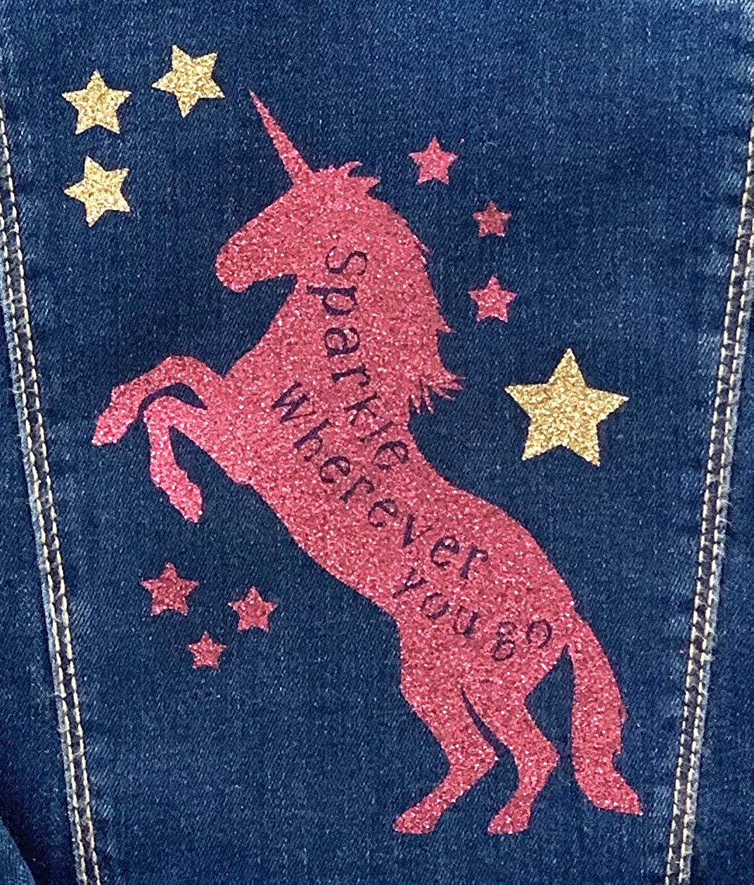 Personalized Toddler Sparkle Unicorn Denim Jacket Kids Jean Jackets Kids Birthday Gift Toddler Custom Gifts