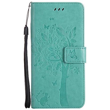 pinlu® Flip Funda de Cuero para Huawei Ascend P7 Carcasa con Función de Stent y Ranuras con Patrón de Gato y Árbol Cover (Verde Claro)