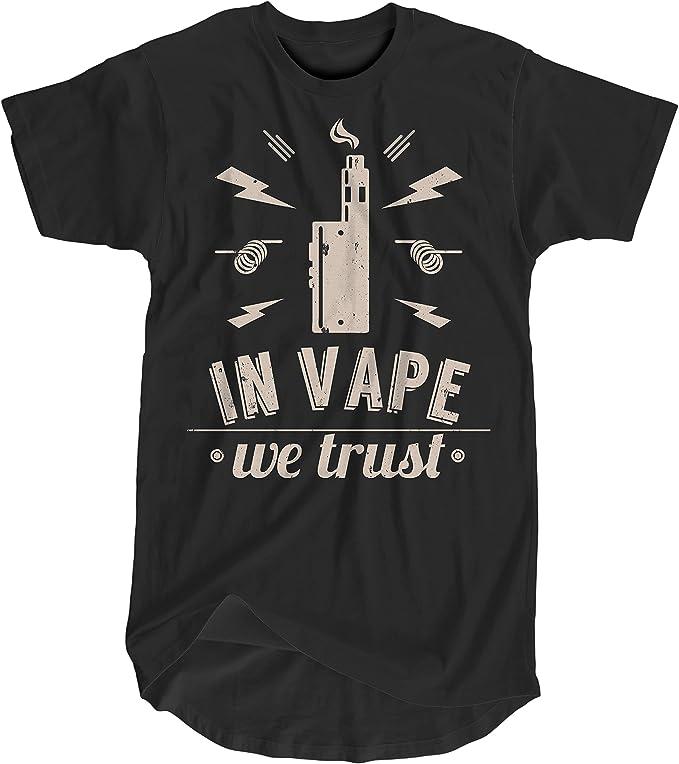 Camiseta Hombre Extra Larga In Vape We Trust - Mens Organic Longer Length T: Amazon.es: Ropa y accesorios