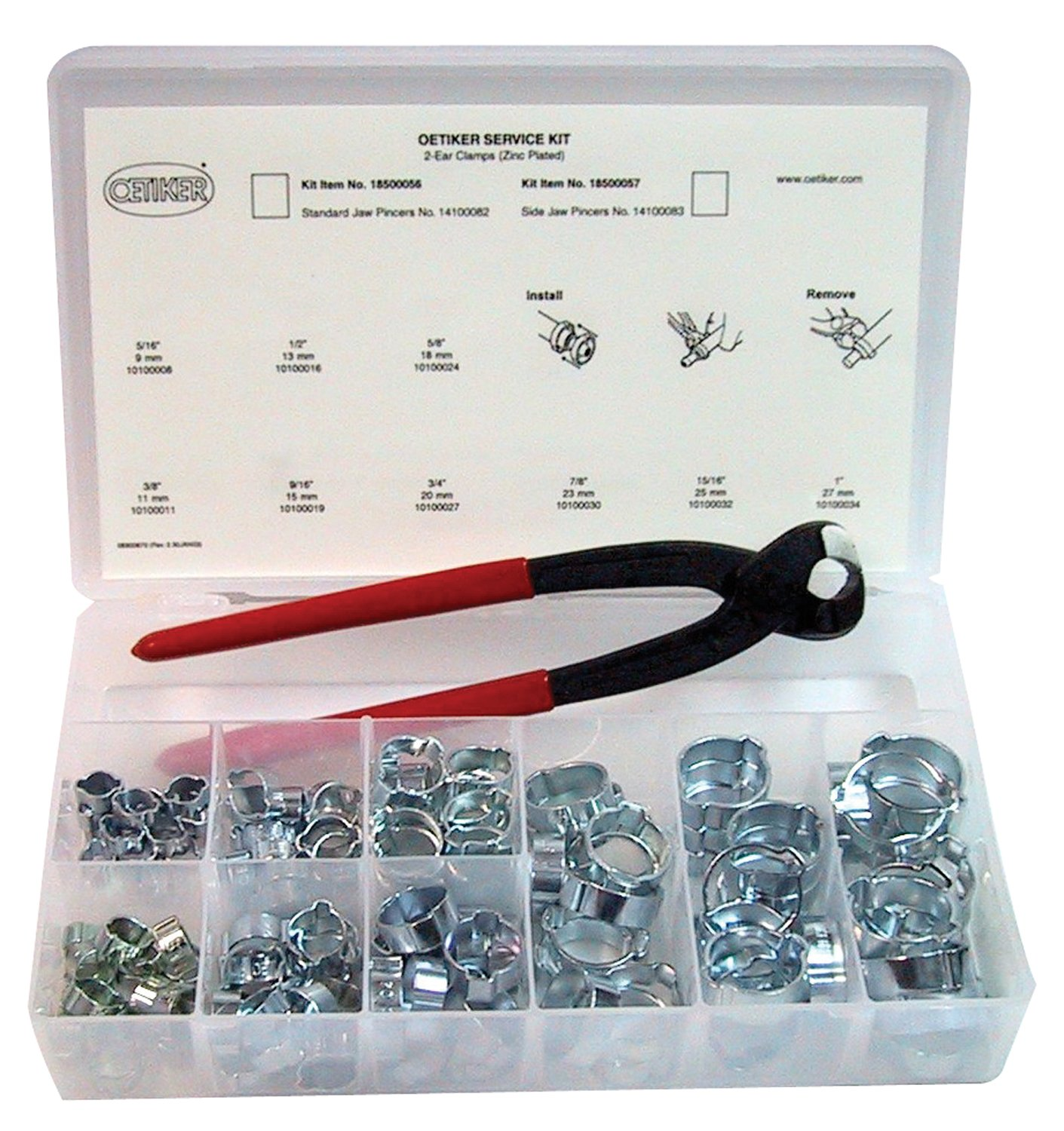 Oetiker 18500056 Service Kit (2-Ear Clamps, zinc plated with standard jaw single action pincers) by Oetiker