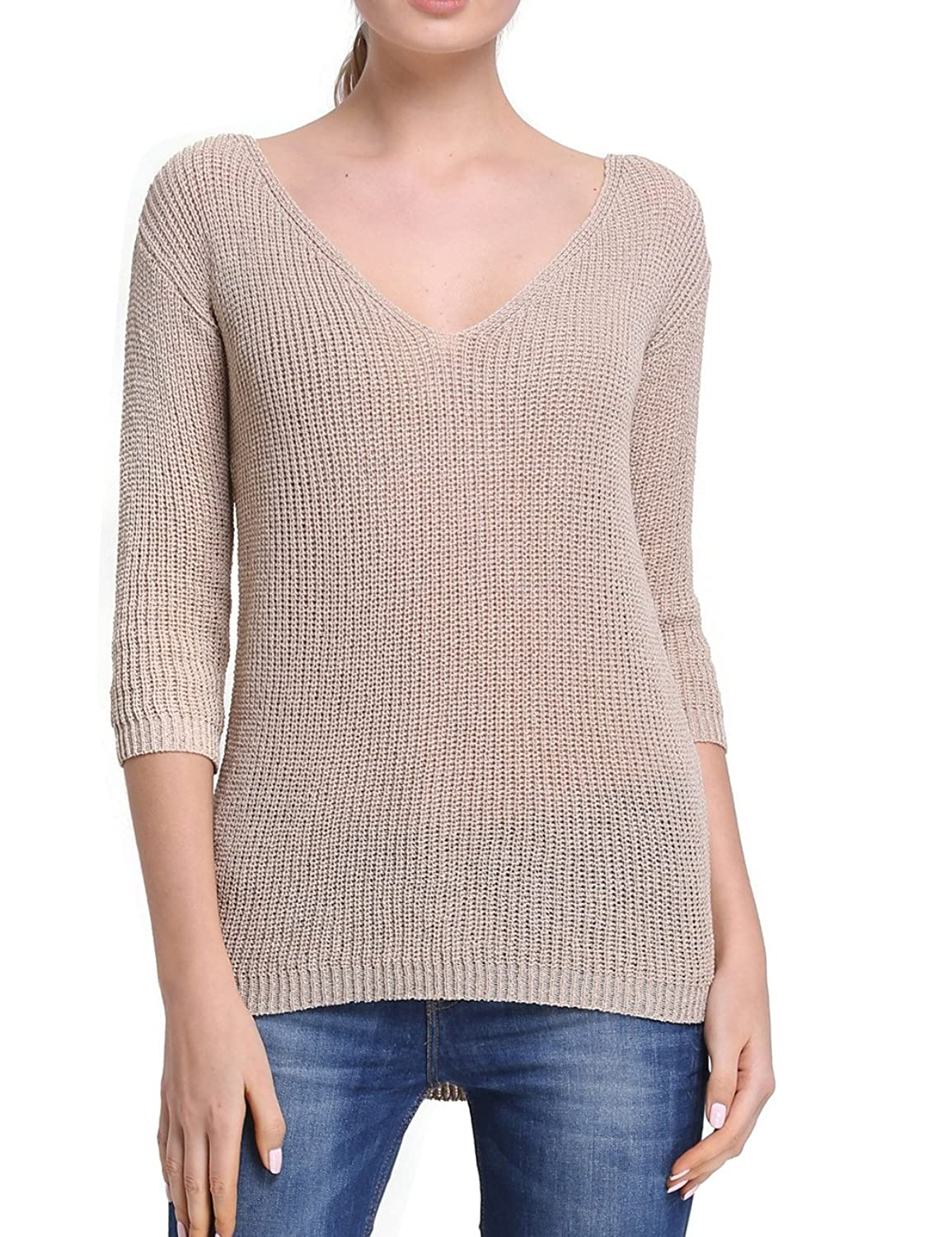Firpearl Women's V Neck Textured Knit 3/4 Sleeve London Tunic Sweater