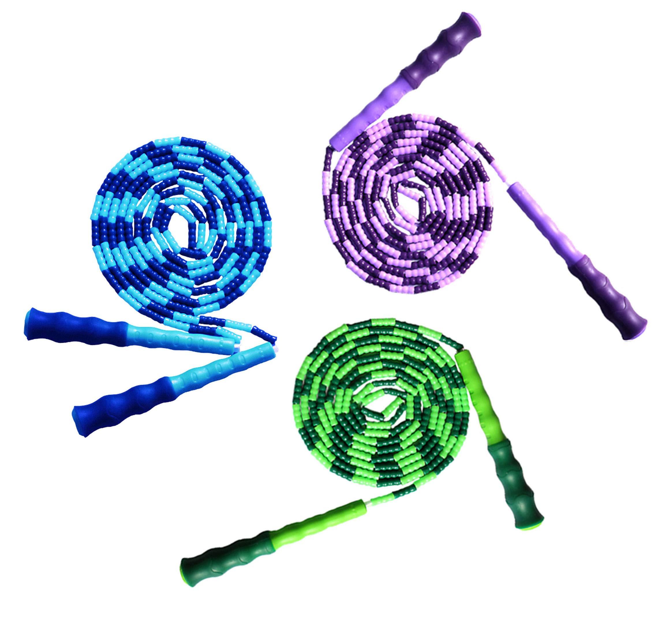 LETUSPORT 9 Feet Adjustable Beaded Segmented Jump Rope for Women Men Kids Lightweight Work Out Speeding Jumping Ropes (Blue+Purple+Green, 3 pcs)