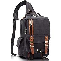 KAUKKO Canvas Messenger Bag Cross Body Shoulder Sling Backpack Travel Hiking Chest Bag (Black)