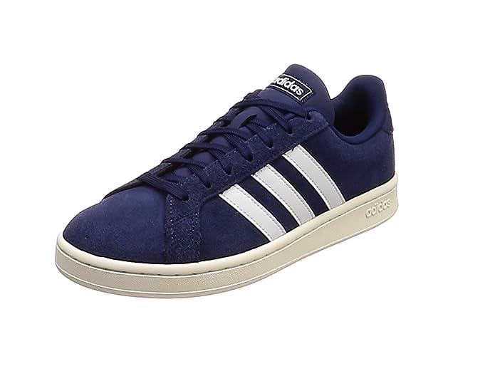 adidas Grand Court Sneakers (Tennisschuhe) Damen Herren Unisex blau mit weißen Streifen (Azuosc/Ftwbla/Blanub)
