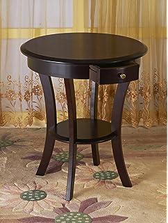 Frenchi Home Furnishing Frenchi Furniture Wood Round Table With Drawer U0026  Shelf ,Espresso U2026