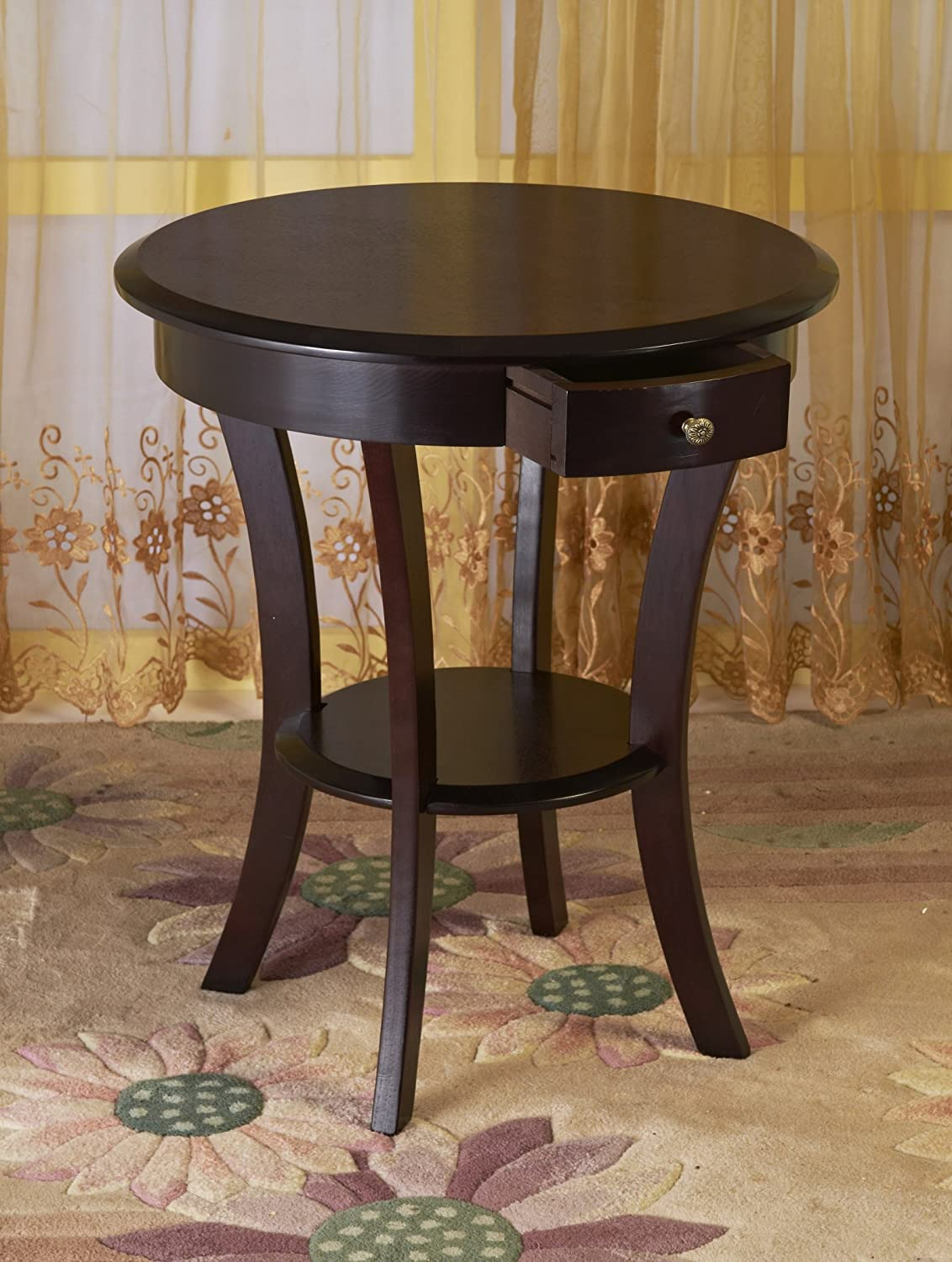 Frenchi Home Furnishing Wood Round Side Accent Table, Two Shelves, Espresso MH302
