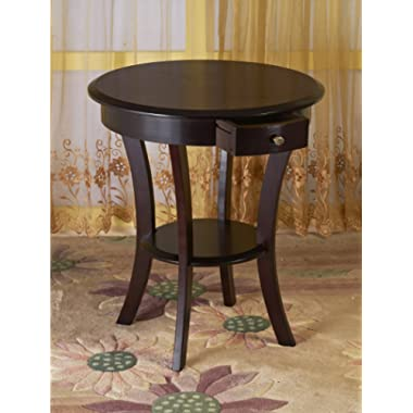 Frenchi Home Furnishing Frenchi Furniture Wood Round Table with Drawer & Shelf,Espresso …
