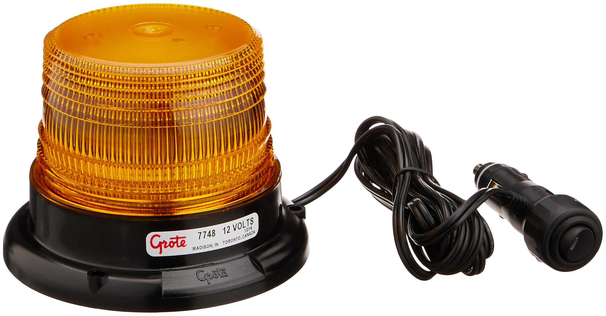 Grote 77483 Yellow Mighty Mini LED Strobe (Magnet Mount with Cigarette Lighter Adapter)
