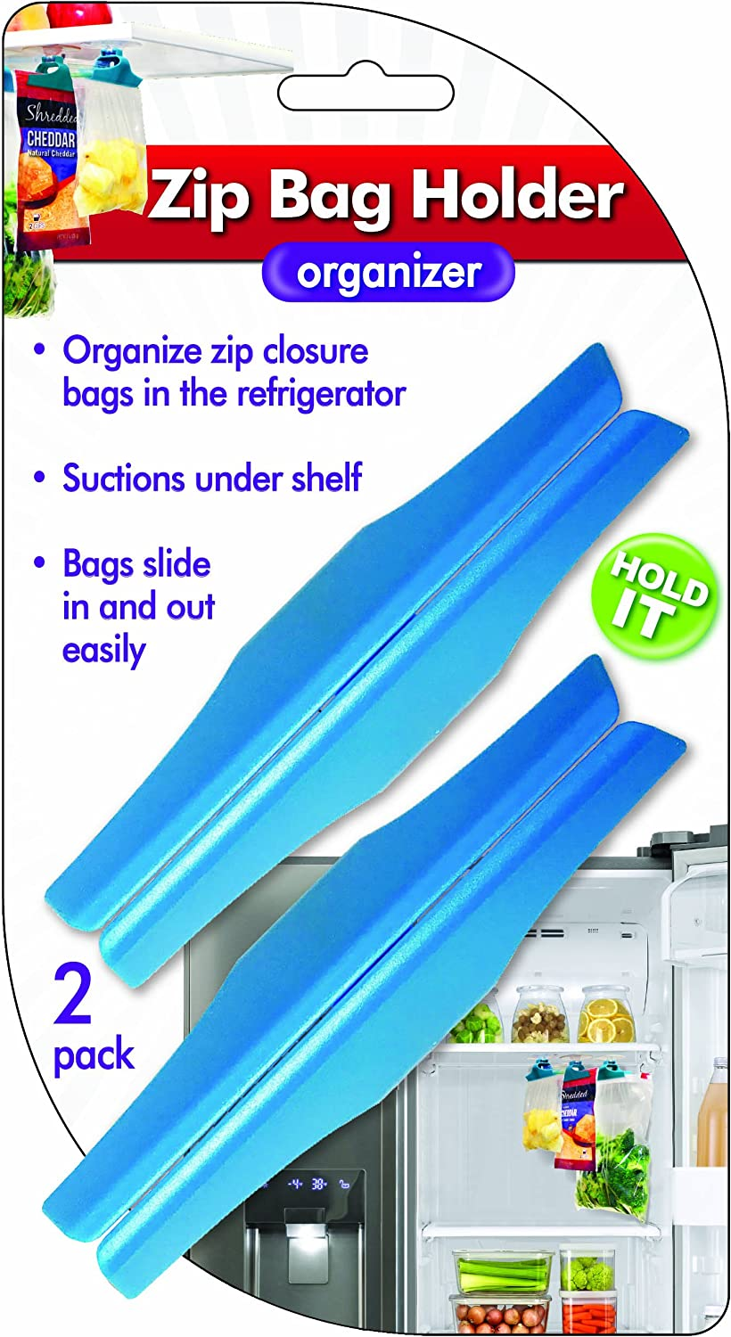 Zip Bag Holder, Best Fridge Storage Hack - Suction Cups Hold Baggies Under Refrigerator Shelves for Easy Removal, Just Slide In or Out of Clip, Holds Up to One Gallon Zip or Freezer Baggy (2 pack)