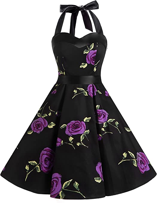 TALLA 3XL. Dresstells® Halter 50s Rockabilly Polka Dots Audrey Dress Retro Cocktail Dress Purpleflower 3XL