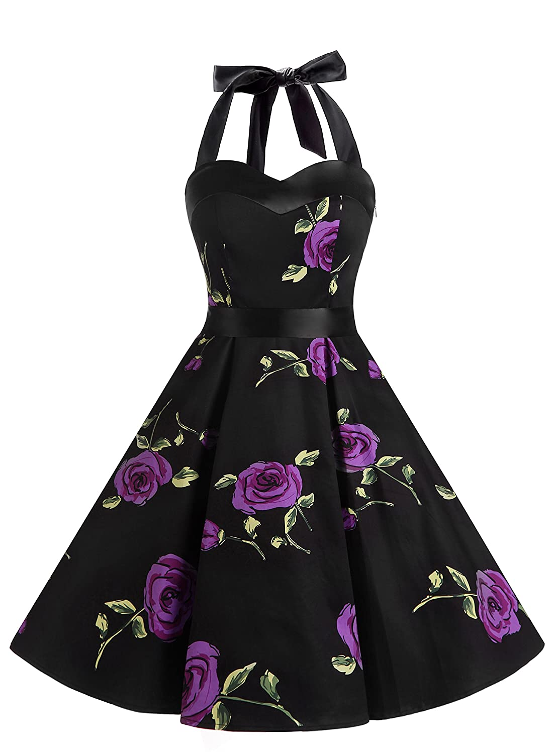 TALLA XL. Dresstells® Halter 50s Rockabilly Polka Dots Audrey Dress Retro Cocktail Dress Purpleflower XL