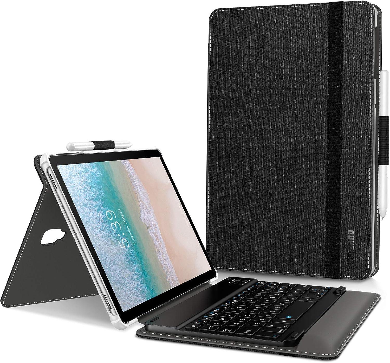 INFILAND Teclado Funda Compatible for Samsung Galaxy Tab S4 10.5, Ultra Slim Case con Magnético Desmontable Teclado para Galaxy Tab S4 10.5 Pulgada (SM-T830/SM-T835) 2018 Tablet,Negro