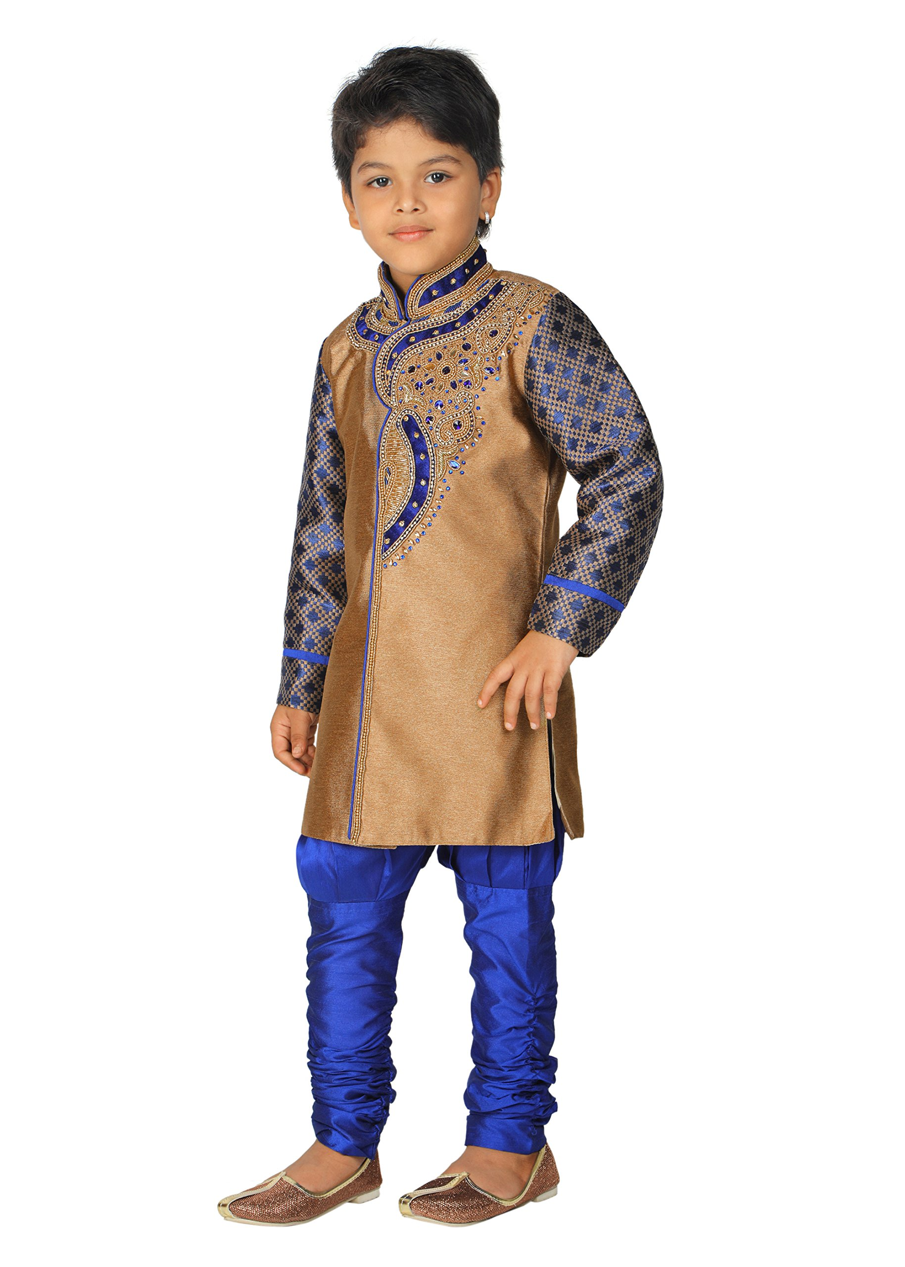Ahhaaaa Kid's Ethnic Indian Hand work embroidery Sherwani and Breeches Set Special Traditional Collection for Boys (5-6 Years, Blue)