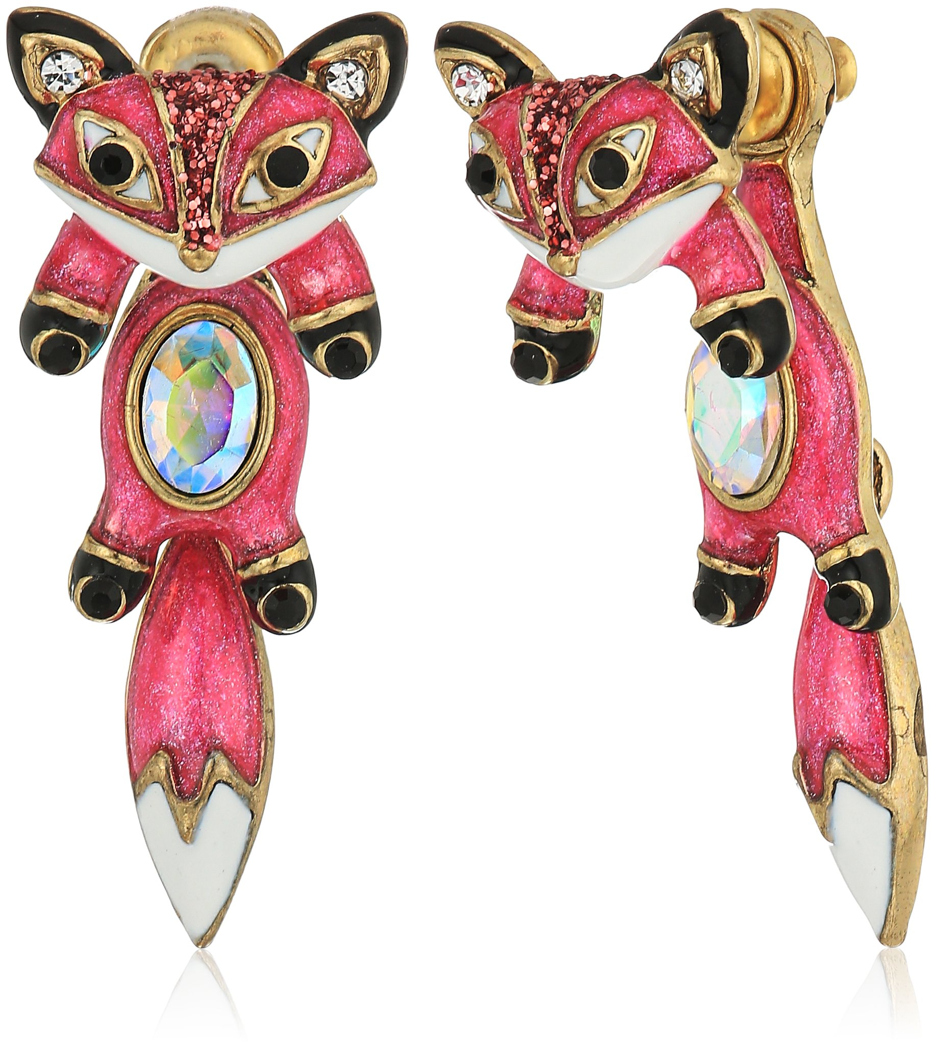 Betsey Johnson Mini Critters Pink Fox Front Back Earring Jacket by Betsey Johnson