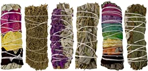 Sage Smudge Kit - 6 Smudge Sticks for Cleansing, Healing, Meditation - 7 Chakra, Peppermint White Sage Mix, Rose Petal Sage, Sage Brush, Lavender with White Sage, Yerba Santa Blue Sage White Sage Mix