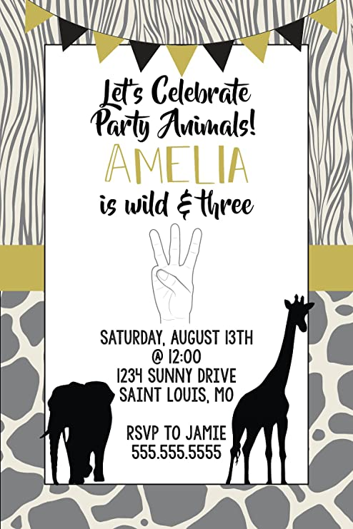 amazon com birthday invitations 3rd birthday young wild and
