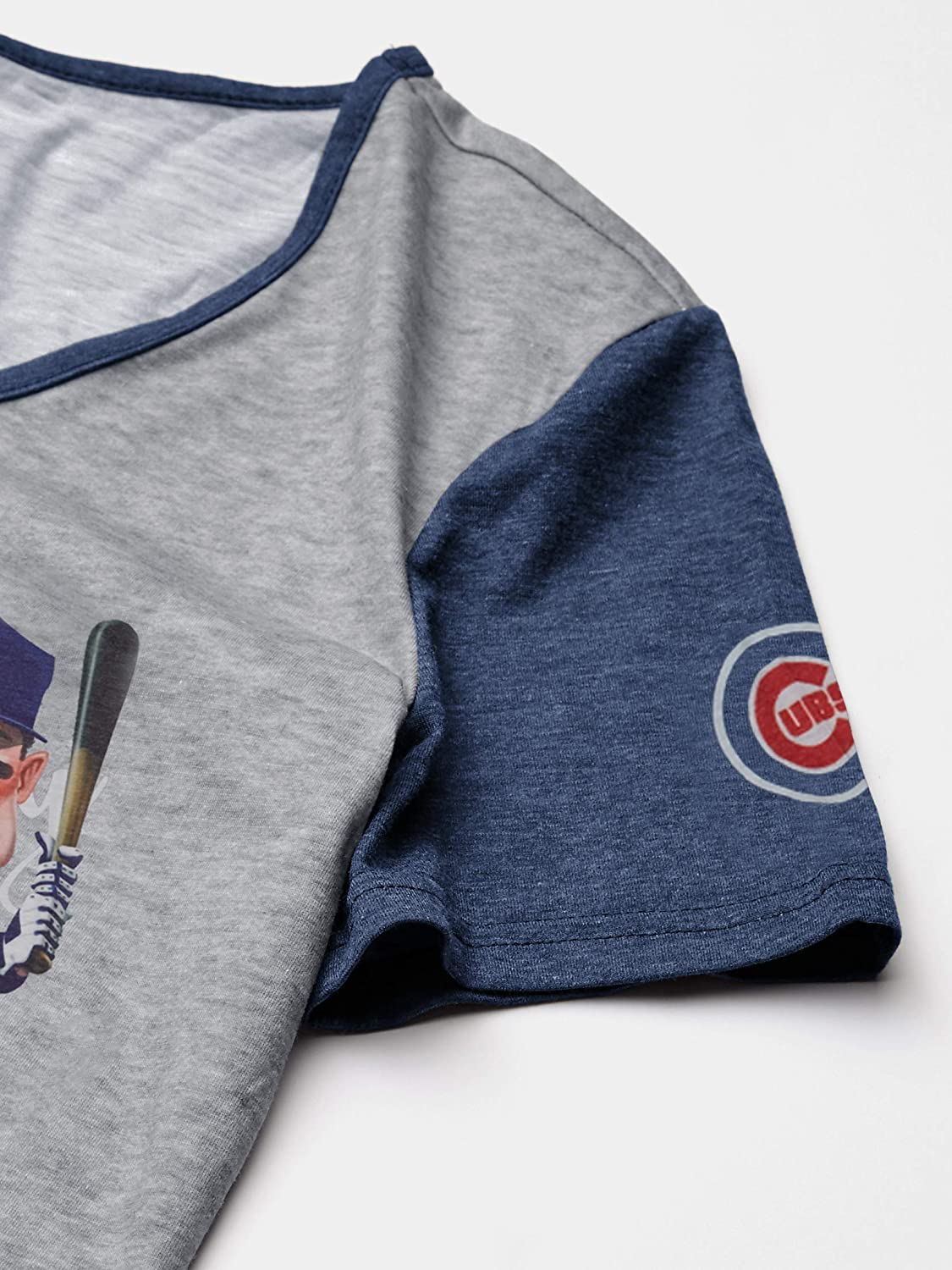 Team Color FOCO MLB Chicago Cubs Womens Caricature V-Neck TEECARICATURE V-Neck TEE M