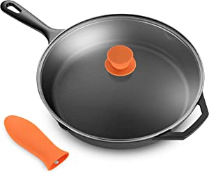 "Legend Cast Iron Skillet with Lid | Large 12"" Frying Pan with Glass Lid & Silicone Handle for Oven, Induction, Cooking, Pizza, Sauteing, Grilling 
