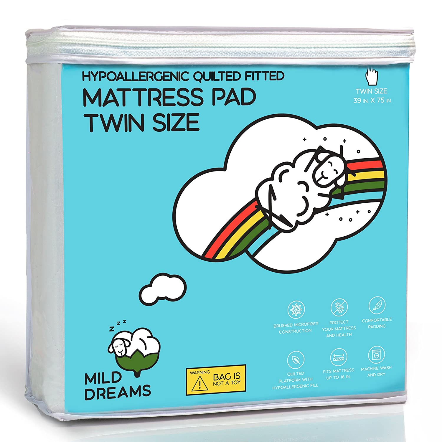 39x75 inches + Stretches to 16 Deep - Quilted Mattress Cover Milddreams Twin Mattress Pad Protector Topper Cover Twin Size Bed Pad