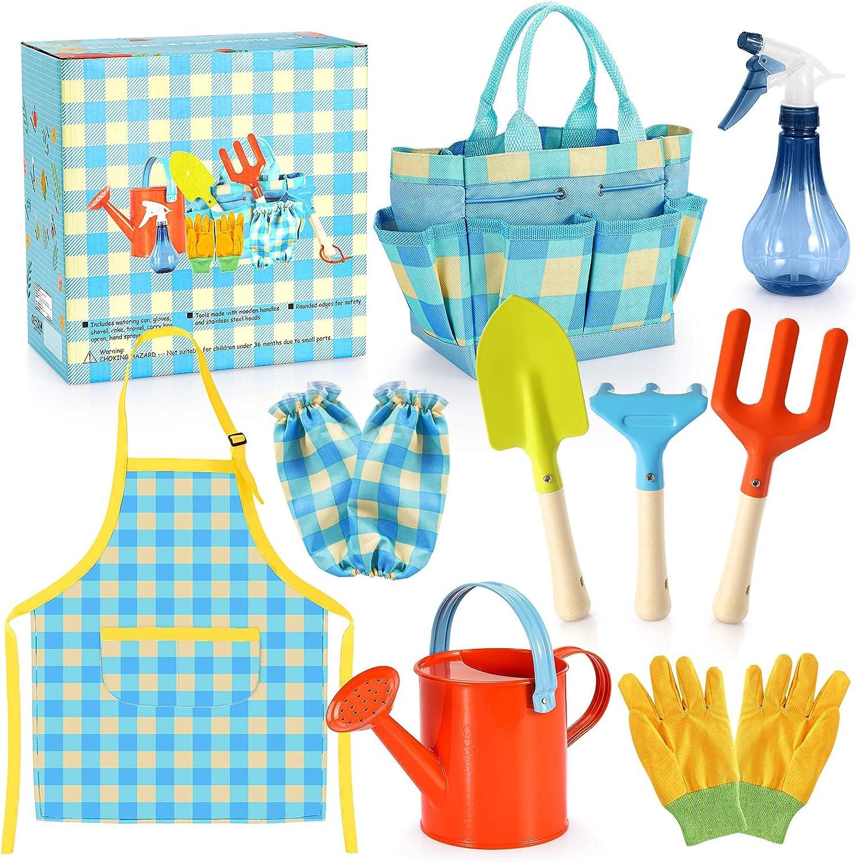 Kids Gardening Set - Kids Gardening Tools Set Colorful Children Garden Tools Fun STEM Toys with Watering Can, Gloves, Shovel, Rake, Trowel, Storage Bag, Apron, Sprayer - Gifts for Boys and Girls
