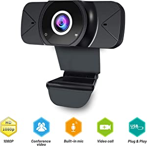 PC Camera with Microphone, CNSL Webcam 1080P Full HD USB Computer Camera,Auto Focus Face Web Camera,Portable USB Webcam for PC Laptop Desktop Gaming Video Calling Recording Conferencing Skype YouTube