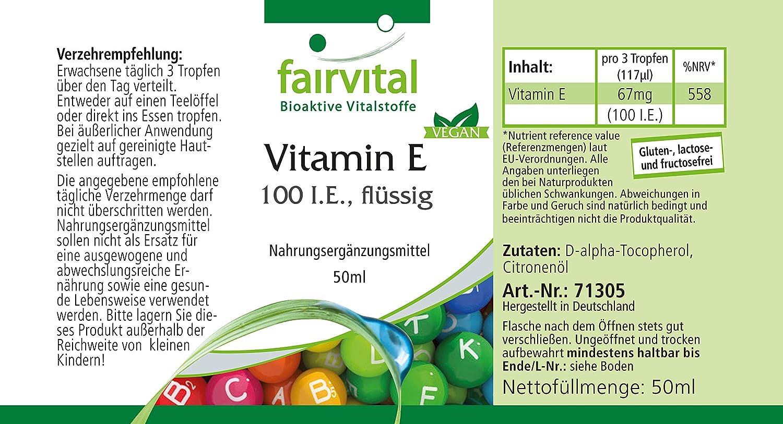 Vitamina E 100 UI líquida de aceite - Bote con más de 1200 gota - VEGANO - 50ml - ganador Vergleichorg de junio de 2017: Amazon.es: Salud y cuidado personal