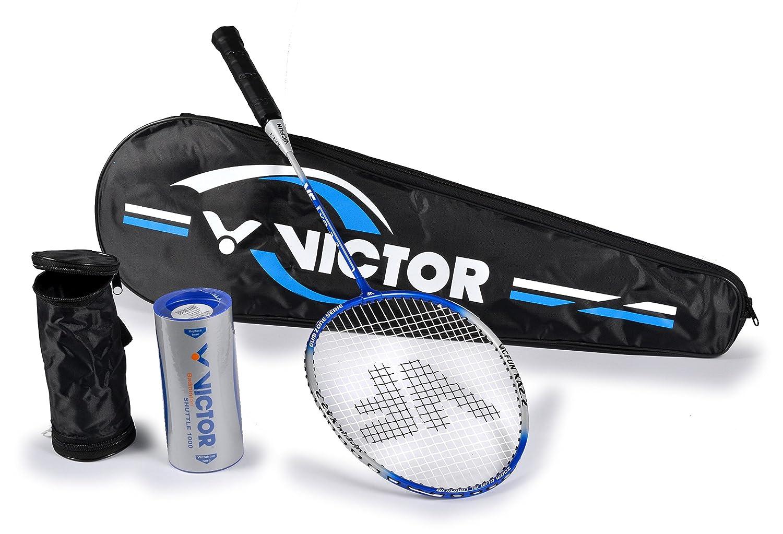 Victor Badmintonschlä ger und Federballschlä ger VICFUN XA 2.2 in Silber/blau, Einzelschlä ger oder als Set mit Schlä ger/Bä llen / Tragetasche One Size VICAC|#VICFUN 099/3/8