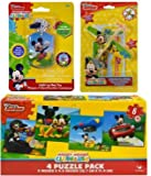 Disney Mickey Mouse Easter Basket Fillers with Light-Up Dog Tag Necklace, 2 pk Prop Gilders Planes, and Puzzle Pack Including 4 Different 6pc Puzzles
